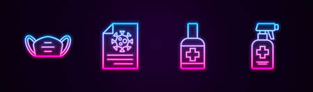 Set line Medical protective mask, Clipboard with blood test results, Liquid antibacterial soap and . Glowing neon icon. Vector Stock Illustratie