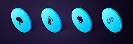 Set Isometric Chain link, Storm, Blender and Cloud download icon. Vector