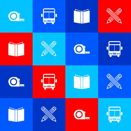 Set Roulette construction, Bus, Open book and Crossed pencil icon. Vector 矢量图像