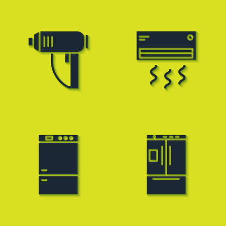 Set Electric industrial dryer, Refrigerator, and Air conditioner icon. Vector Stock Illustratie