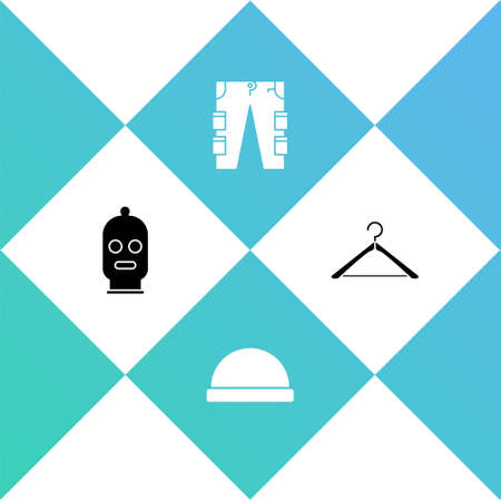 Set Balaclava, Beanie hat, Cargo pants and Hanger wardrobe icon. Vector