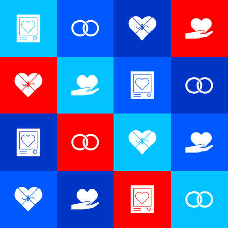 Set Photo frames and hearts, Wedding rings, Candy shaped box and Heart hand icon. Vector