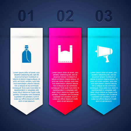 Set Bottle of liquid soap, Plastic bag and Spread the word, megaphone. Business infographic template. Vector