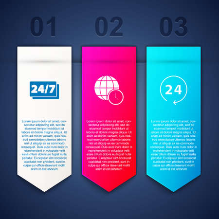 Set Clock 24 hours, World time and . Business infographic template. Vector