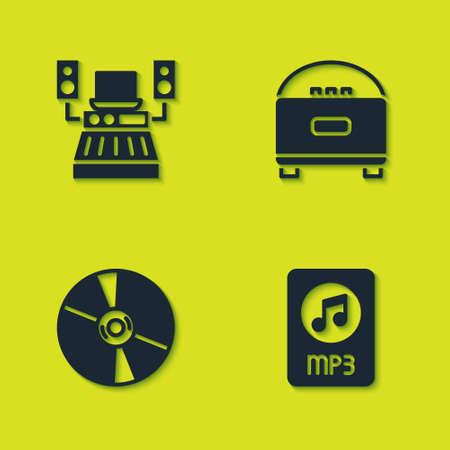 Set Music recording studio, MP3 file document, CD DVD disk and Stereo speaker icon. Vector Çizim