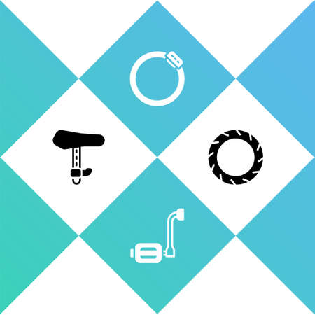 Set Bicycle seat, pedal, brake disc and wheel tire icon. Vector