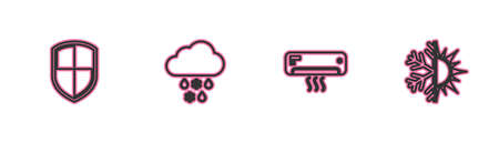 Set line Shield, Air conditioner, Cloud with snow and rain and Sun snowflake icon. Vector