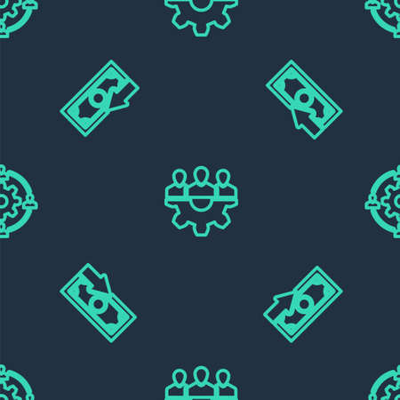Set line Project team base, Cash back and Outsourcing concept on seamless pattern. Vector