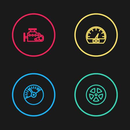 Set line Speedometer, Car wheel, and engine icon. Vector Ilustração
