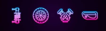 Set line Shock absorber, Car wheel, engine and door handle. Glowing neon icon. Vector