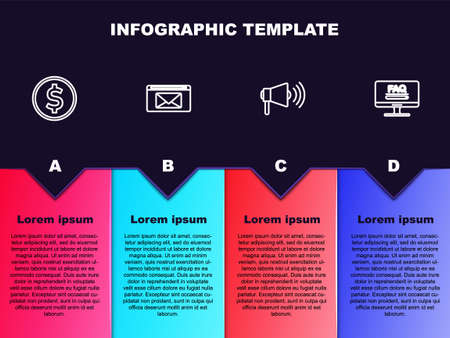 Set line Coin money with dollar, Mail and e-mail, Megaphone and Monitor FAQ information. Business infographic template. Vector
