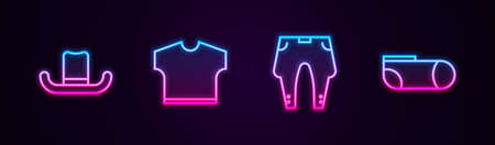 Set line Man hat, T-shirt, Pants and Sport socks. Glowing neon icon. Vector