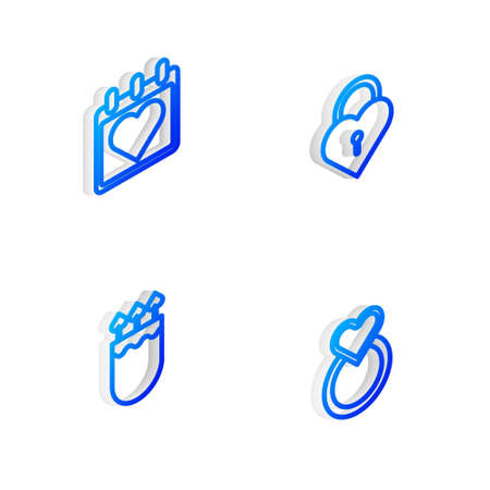 Set Isometric line Castle in the shape of heart, Calendar with, Quiver and arrows and Wedding rings icon. Vector