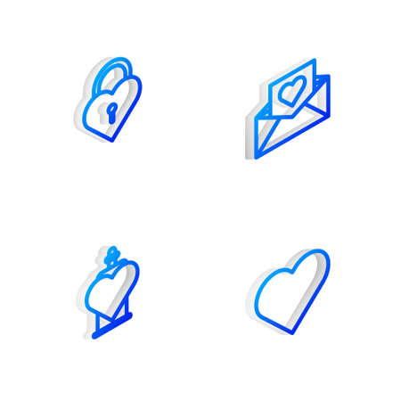 Set Isometric line Envelope with Valentine heart, Castle the shape of, Bottle love potion and Heart icon. Vector