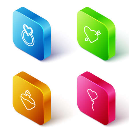 Set Isometric line Wedding rings, Amour with heart and arrow, Bottle love potion and Balloon form of icon. Vector