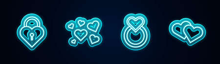 Set line Castle in the shape of heart, Heart, Wedding rings and . Glowing neon icon. Vector