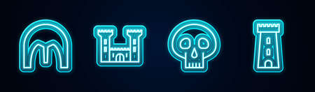 Set line Medieval iron helmet, Castle, Skull and tower. Glowing neon icon. Vector 向量圖像