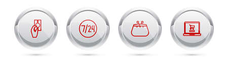 Set line Hand holding money, Clock 24 hours, Wallet and Shopping cart laptop. Silver circle button. Vector