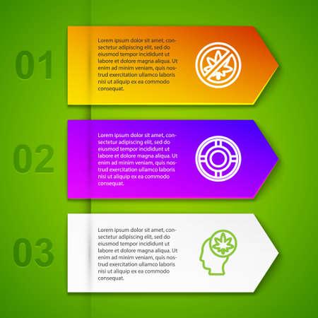 Set line Stop marijuana or cannabis leaf, Ashtray, Head with and Marijuana. Business infographic template. Vector
