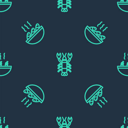 Set line Lobster, Fish soup and Soup with shrimps on seamless pattern. Vector