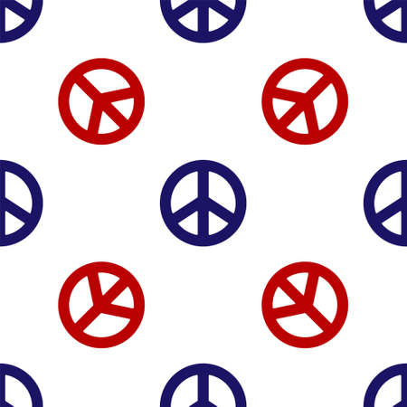 Blue and red Peace icon isolated seamless pattern on white background. Hippie symbol of peace. Vector Illustration