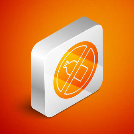 Isometric No plastic bottle icon isolated on orange background. Silver square button. Vector Illustration