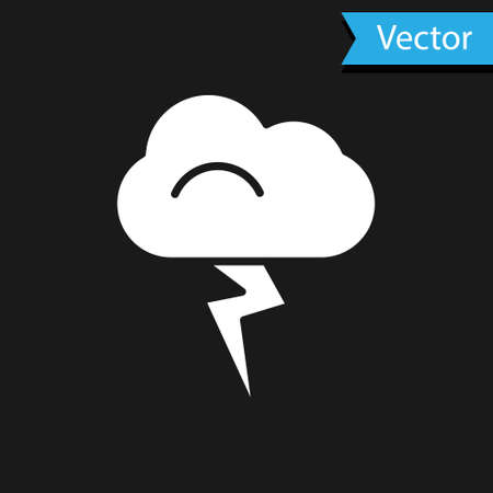 White Storm icon isolated on black background. Cloud and lightning sign. Weather icon of storm. Vector Illustration