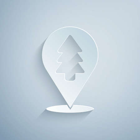 Paper cut Location of the forest on a map icon isolated on grey background. Paper art style. Vector Illustration