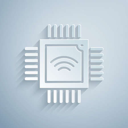 Paper cut Computer processor with microcircuits CPU icon isolated on grey background. Chip or cpu with circuit board. Micro processor. Paper art style. Vector Illusztráció