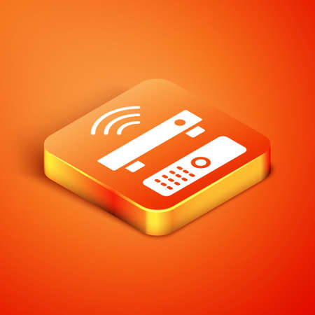 Isometric Wireless multimedia and TV box receiver and player with remote controller icon isolated on orange background. Vector Illusztráció
