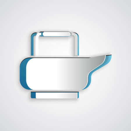 Paper cut Bedpan icon isolated on grey background. Toilet for bedridden patients. Paper art style. Vector Illustration