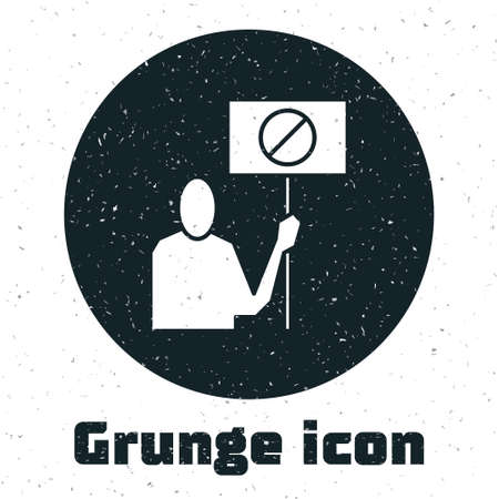 Grunge Nature saving protest icon isolated on white background. Earth planet protection, environmental issues demonstration. Monochrome vintage drawing. Vector Illustration