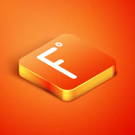 Isometric Fahrenheit icon isolated on orange background. Vector Illustration Ilustração