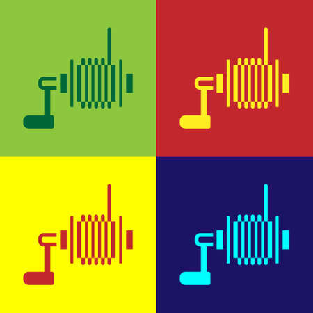 Pop art Spinning reel for fishing icon isolated on color background. Fishing coil. Fishing tackle. Vector