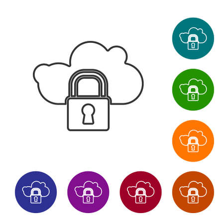 Black line Cloud computing lock icon isolated on white background. Security, safety, protection concept. Protection of personal data. Set icons in color circle buttons. Vector Illustration