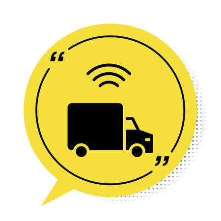 Black Smart delivery cargo truck vehicle with wireless connection icon isolated on white background. Yellow speech bubble symbol. Vector Illusztráció