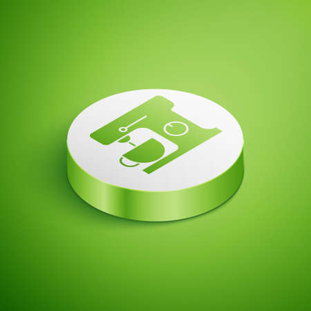 Isometric Electric mixer icon isolated on green background. Kitchen blender. White circle button. Vector Illustration Stock Illustratie