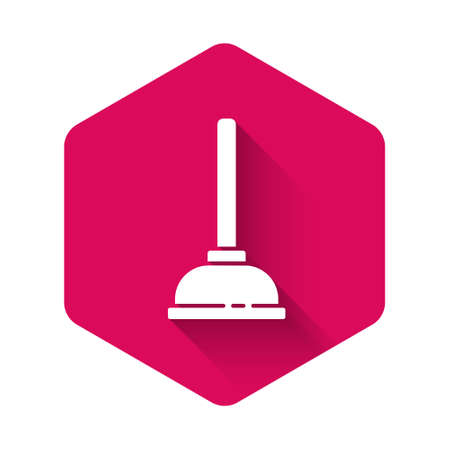 White Rubber plunger with wooden handle for pipe cleaning icon isolated with long shadow. Toilet plunger. Pink hexagon button. Vector Illustration