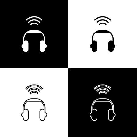 Set Smart headphones system icon isolated on black and white background. Internet of things concept with wireless connection. Vector