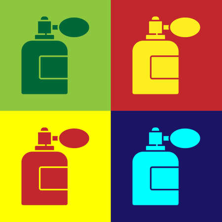 Pop art Aftershave bottle with atomizer icon isolated on color background. Cologne spray icon. Male perfume bottle. Vector Illustration