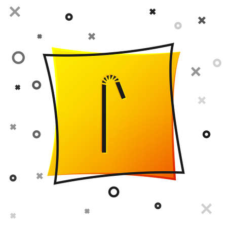 Black Drinking plastic straw icon isolated on white background. Yellow square button. Vector Illustration Ilustração