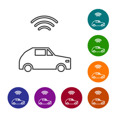 Black line Smart car system with wireless connection icon isolated on white background. Set icons in color circle buttons. Vector