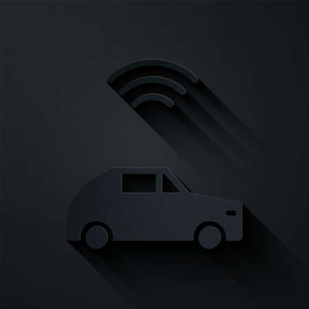 Paper cut Smart car system with wireless connection icon isolated on black background. Paper art style. Vector Illusztráció