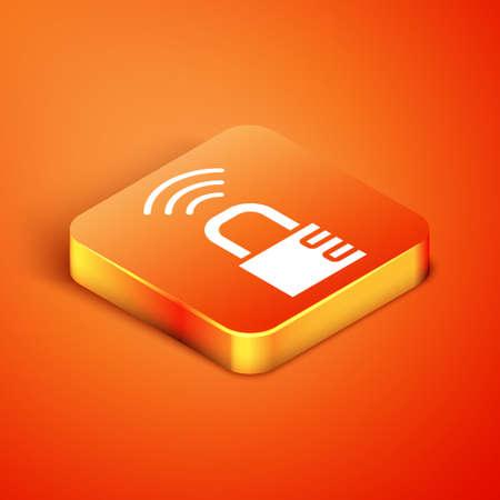 Isometric Smart safe combination lock icon isolated on orange background. Combination padlock. Security, safety, protection, password, privacy. Vector Illusztráció