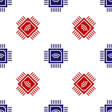 Blue and red Computer processor with microcircuits CPU icon isolated seamless pattern on white background. Chip or cpu with circuit board. Micro processor. Vector Illusztráció