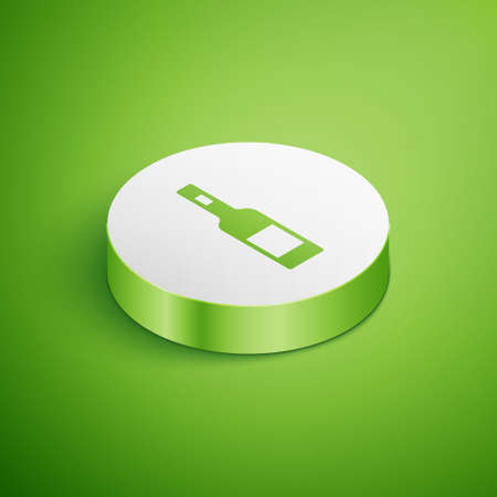 Isometric Glass bottle of vodka icon isolated on green background. White circle button. Vector