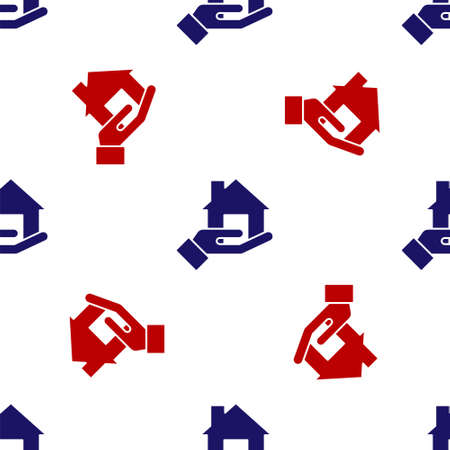 Blue and red Realtor icon isolated seamless pattern on white background. Buying house. Vector 矢量图像