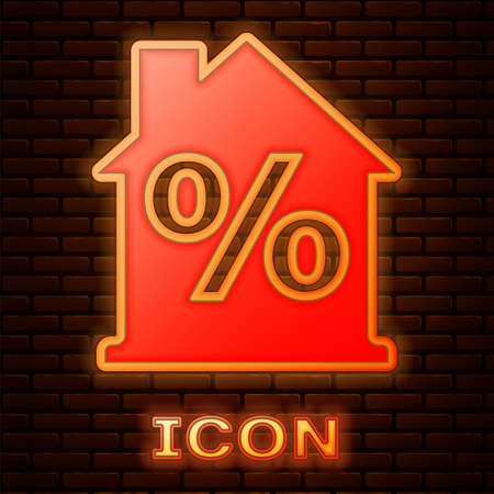 Glowing neon House with percant discount tag icon isolated on brick wall background. Real estate home. Credit percentage symbol. Vector 矢量图像