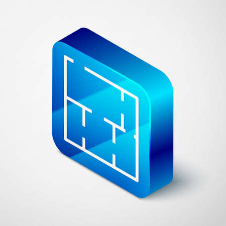 Isometric House plan icon isolated on grey background. Blue square button. Vector