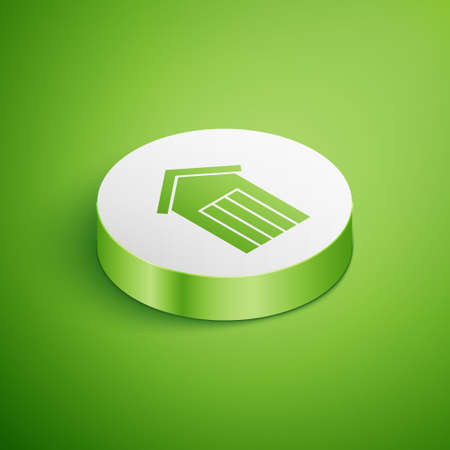 Isometric Wooden outdoor toilet icon isolated on green background. White circle button. Vector Ilustração